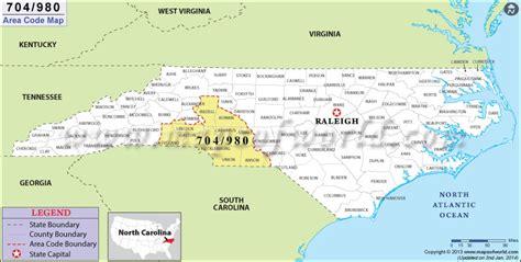 area code map    area code  north carolina