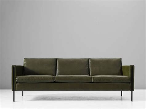 Pierre Paulin Reupholstered 442 Sofa In Green Leather At