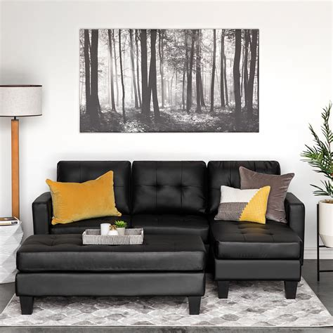 But the outlook remains incomplete without a fitting coffee table. Best Choice Products Tufted Faux Leather 3-Seat L-Shape Sectional Sofa Couch Set w/ Chaise ...