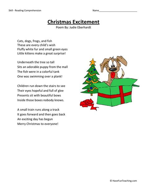 reading comprehension worksheet christmas excitement