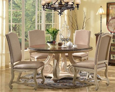 cream finish dining set   table  mcf furnishings
