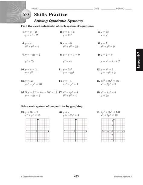 systems of linear and quadratic equations worksheet the best worksheets image collection