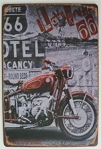 Route 66 En Moto : plaque de d coration murale route 66 moto deco americaine goodies ~ Medecine-chirurgie-esthetiques.com Avis de Voitures
