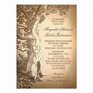 Vintage tree old rustic wedding invitations rustic vintage for Tree trunk wedding invitations