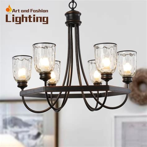 6 Light Chandelier With Shades by Popular Iron Cottage Chandelier Vintage Surface With Clear