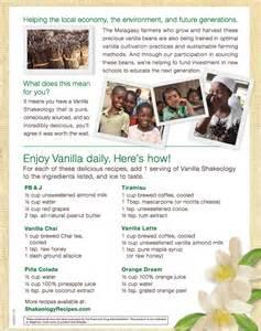 Vanilla Shakeology Recipe Calendar