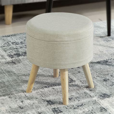 Padded Footstool With Storage by Sobuy 174 Wood Upholstered Footstool Ottoman Pouffe