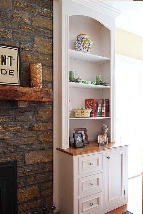 built  bookshelve ideas   sides   fireplace
