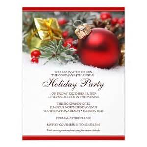 corporate holiday party invitation featuring a red christmas ornament in snow with fir red
