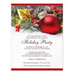 corporate holiday party invitation featuring a red