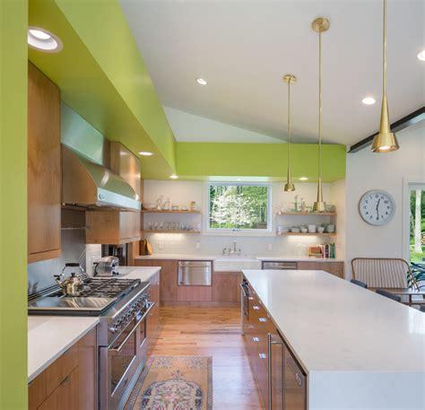 mid century modern kitchen flooring beautiful mid century kitchen with gold pendant lights 9165