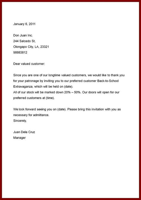 simple business letter sample letters  sample letters