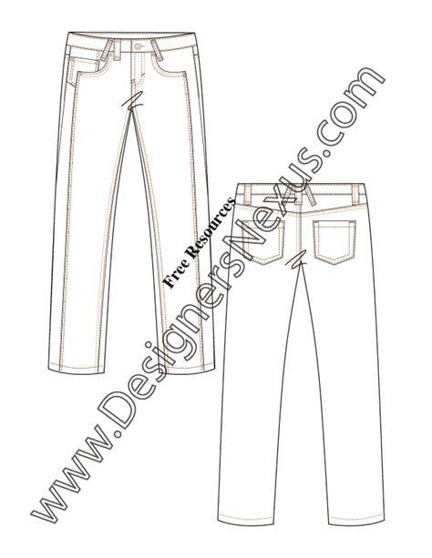 illustrator flat fashion sketch  straight leg jeans
