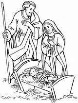 Coloring Pages Jesus Nativity Mary Birth Manger Christmas Scene Born Shepherd Drawing Shepherds Adore Colouring Manager Sketches Joseph Sheets Visit sketch template