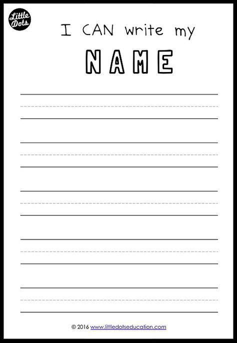 free printable to practice writing your names for preschool pre k or kindergarten class