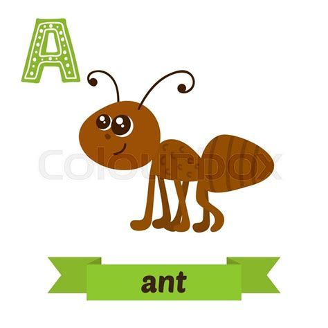 animals that start with the letter a ant a letter children animal alphabet in vector 29229