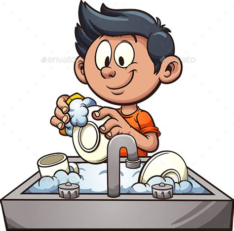wash the dishes clipart boy washing dishes by memoangeles graphicriver