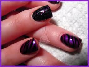 Purple and Black Acrylic Nail Designs