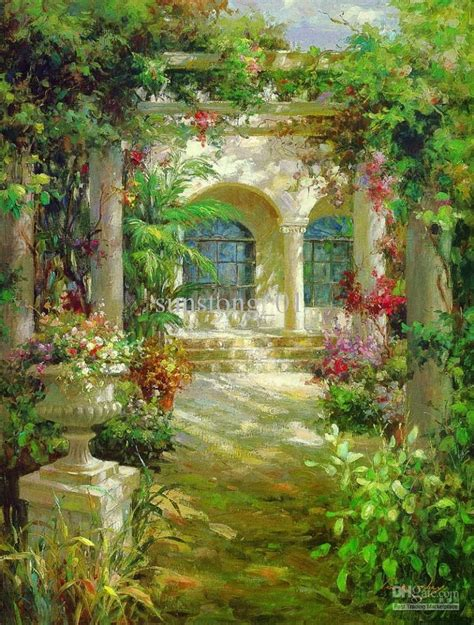 impression oil painting flowers garden home decoration