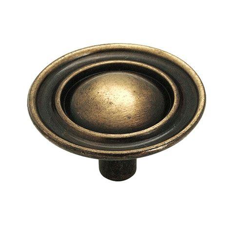 brass kitchen knobs amerock 1 1 2 in antique brass cabinet knob 159abs the