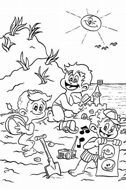 Coloring Beach Pages Printable Scene Sheets Scribblefun