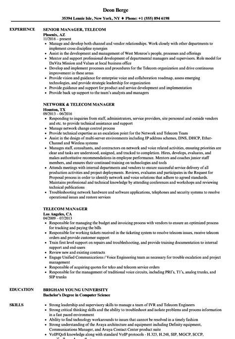 telecom manager resume samples velvet jobs