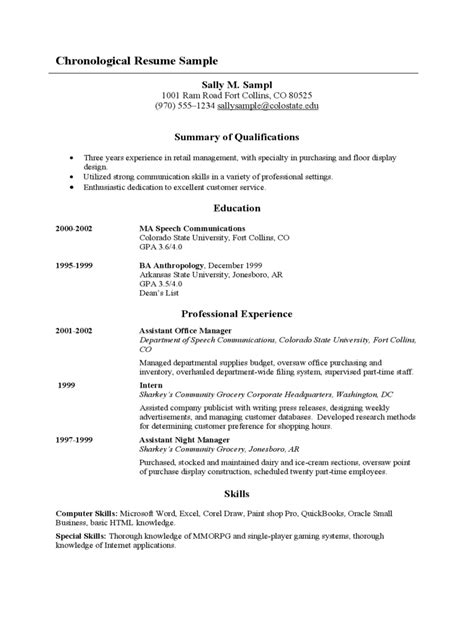 chronological resume template fillable printable