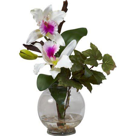 walmart flower vases mini cattleya silk flower arrangement with fluted vase