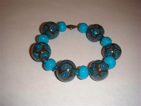pin bracelet fleur fimo turquoise bijoux par fany sur alittlemarket on