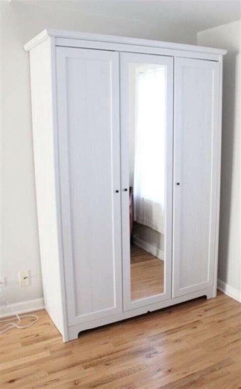 white ikea aspelund mirrored wardrobe in