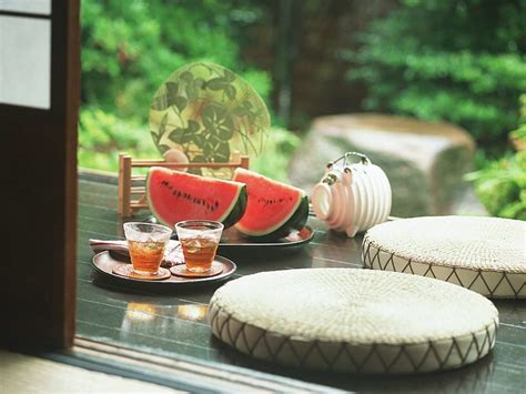 relaxing summer scene japanese porch  summer