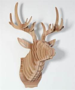 tete de cerf decoration murale bricolage bois decorations With decoration murale bois sculpte