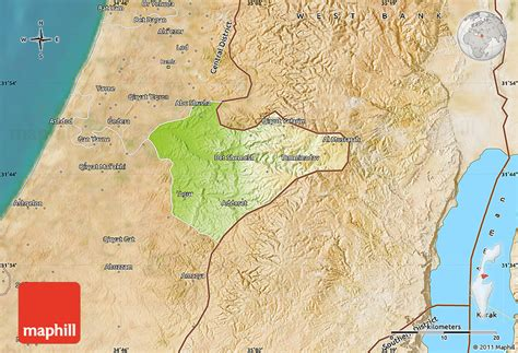 physical map  jerusalem satellite