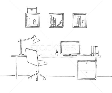 bureau line office sketch the room office chair desk various objects on
