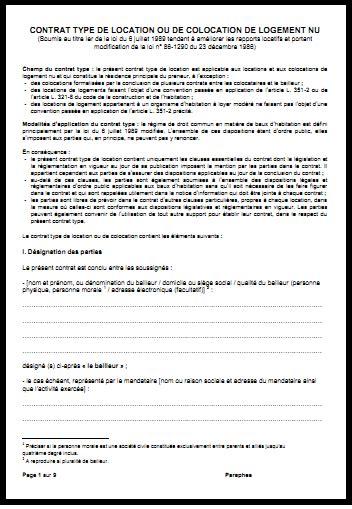 contrat location chambre contrat de location meuble gratuit pdf 0 mod232le de