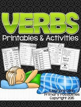 verb printable activities  images verb linking