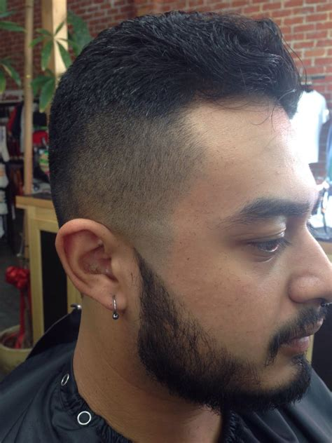 medium fade   guard  pointy sideburns blended   beard  light scissor work
