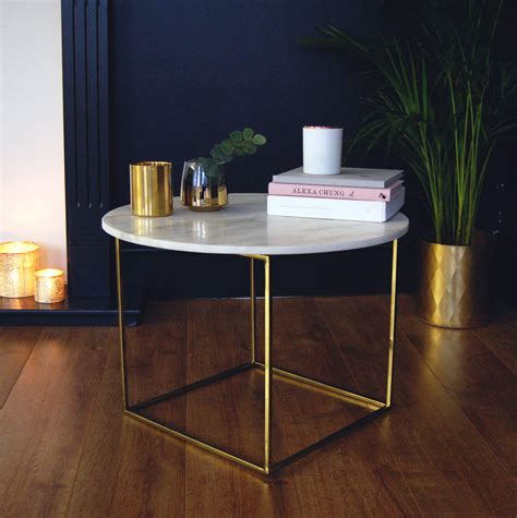 Shop coffee tables at interiors online. Gold And Marble Round Coffee Table Side Table By The Luxe Co | notonthehighstreet.com