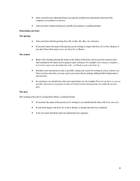 General letter of complaint