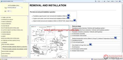 service manuals schematics 2006 mitsubishi outlander engine control mitsubishi outlander 2011 workshop manual auto repair