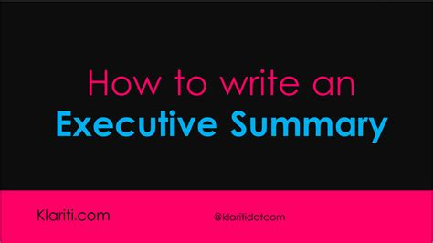 write  executive summary  business plans part
