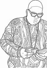 Coloring Biggie Smalls Drawing Notorious Printable Contour Sheets Adult Illustrator Colouring Famous Bamboo Rap Pad Hours Flickr Tattoo Tattoos Shirt sketch template