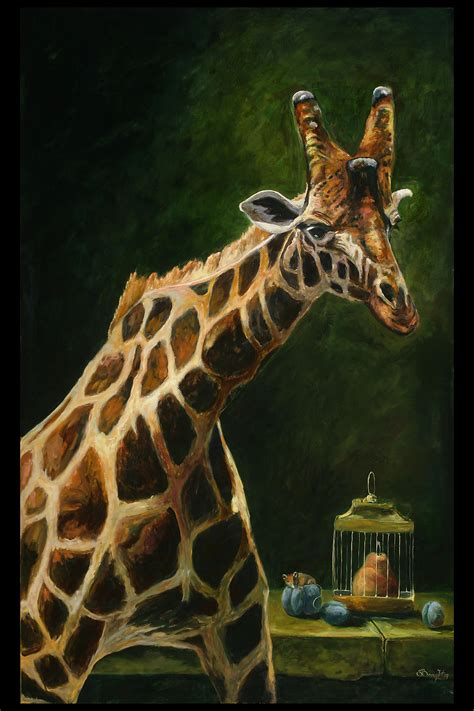 original oil painting  giraffe  life