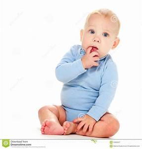 Baby boy thinking stock image. Image of offspring ...