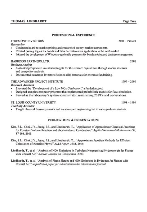 aerospace engineer resume exle