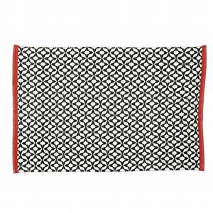Tapis d39exterieur en tissu noir 140 x 200 cm nikeo for Tapis exterieur avec canapé tissu fleuri