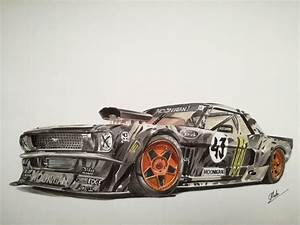 Ken Block's Gymkhana Mustang - Car drawing by Antoine ...