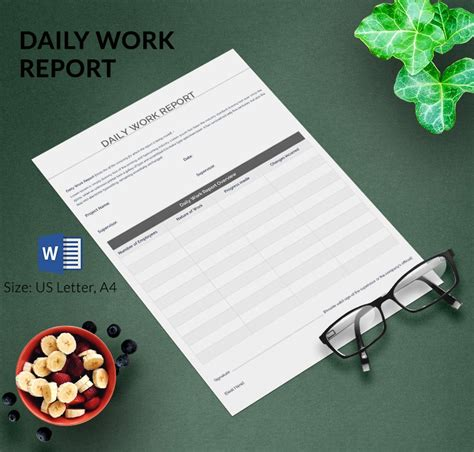 daily report template   word excel