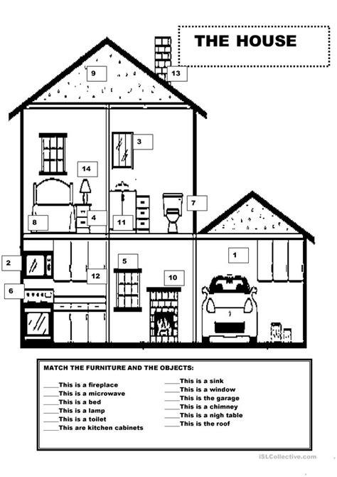 furniture   house worksheet  esl printable