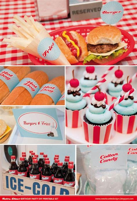 retro diner birthday party printable set cupcake toppers